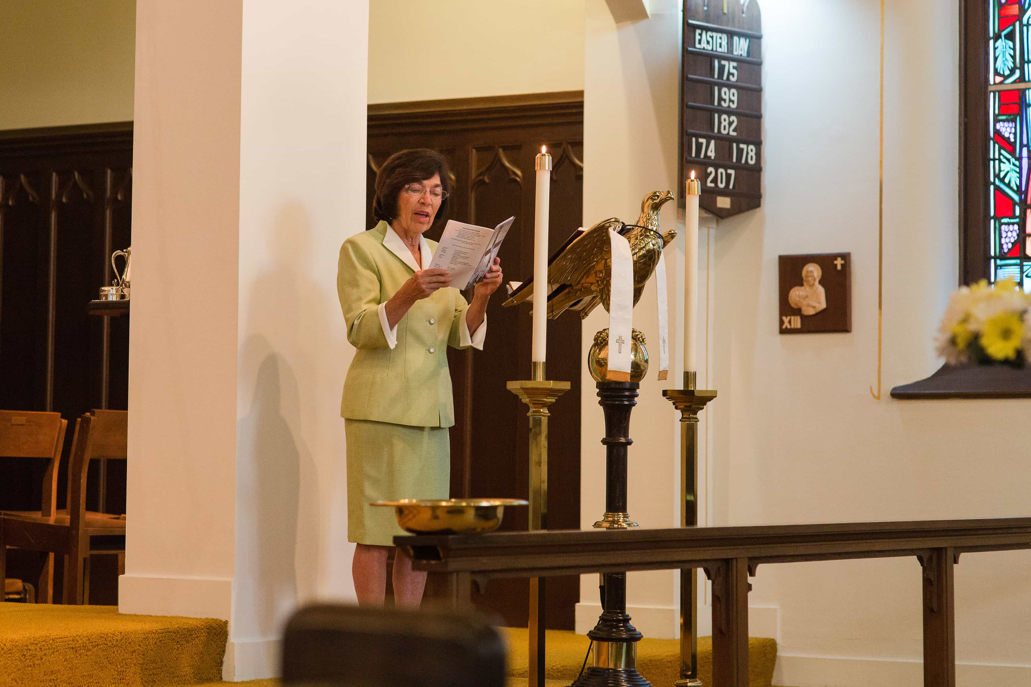 Lay Reader reading during a service